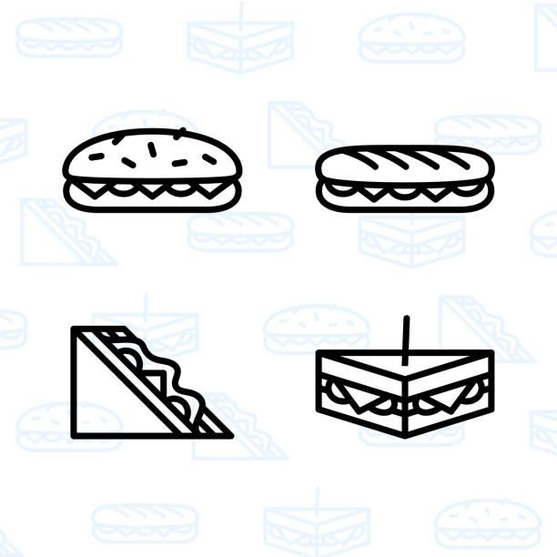 illustrazioni stock, clip art, cartoni animati e icone di tendenza di panetteria, dessert, biscotti, snack e set di icone alimentari e illustrazione vettoriale - 2 - panino