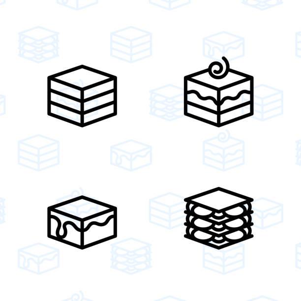 bildbanksillustrationer, clip art samt tecknat material och ikoner med bageri, efterrätt, kakor, snacks och mat ikonen ange och vektor illustration - 3 - brownie