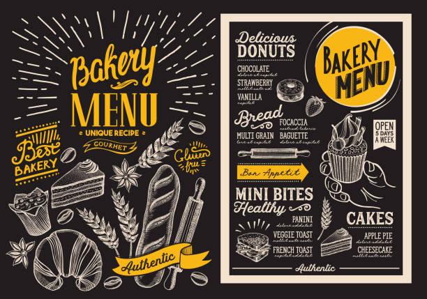 restoran için ekmek tatlı menüsü. kara tahta arka plan ile gıda çizilmiş grafik çizimler tasarım şablonu. vektör yiyecek el ilanı bar ve kafe. - ekmekçi dükkânı stock illustrations
