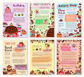 Bakery dessert, sweets and ice cream posters set. Cake, cupcake, chocolate, cream dessert, fruit pie, ice cream sundae, berry muffin and gingerbread cookie symbol for pastry shop, cafe design