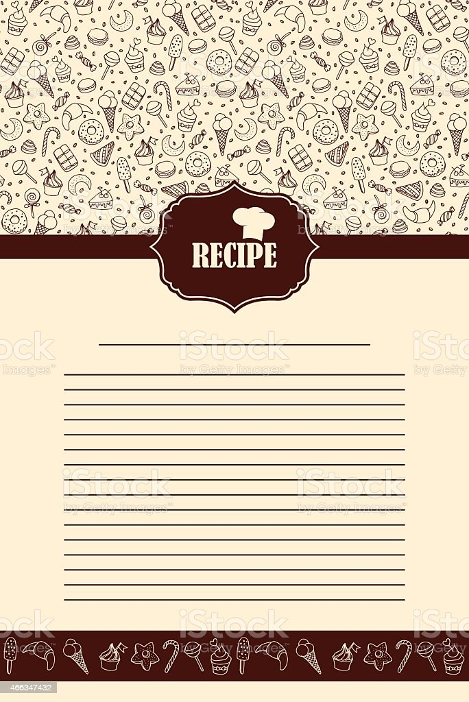 Bakery desserts background with Recipe label vector art illustration
