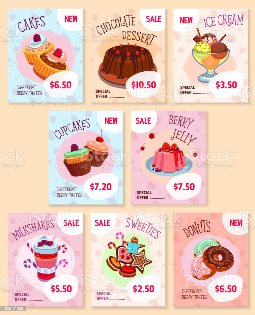 Ilustración de Panaderia Postres Precio Etiquetas Vector Conjunto De ...