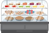 A clear glass display case for baked goods. All shapes are properly grouped and layered.