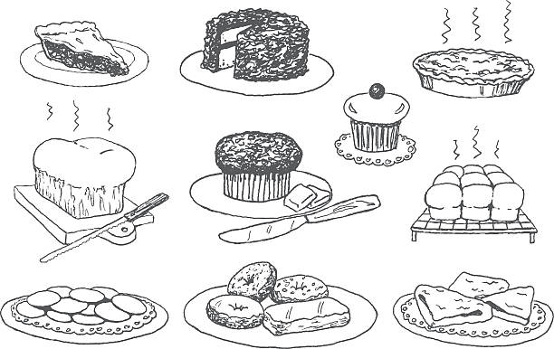 Bakery Doodles vector art illustration