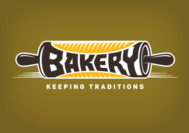 bakery emblem. rolling pin bakery emblem. Vector rolling pin rolling pin stock illustrations