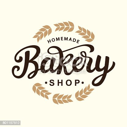 Bakery emblem template design. Hand drawn lettering. Vintage calligraphy badge emblem. Vector illustration.