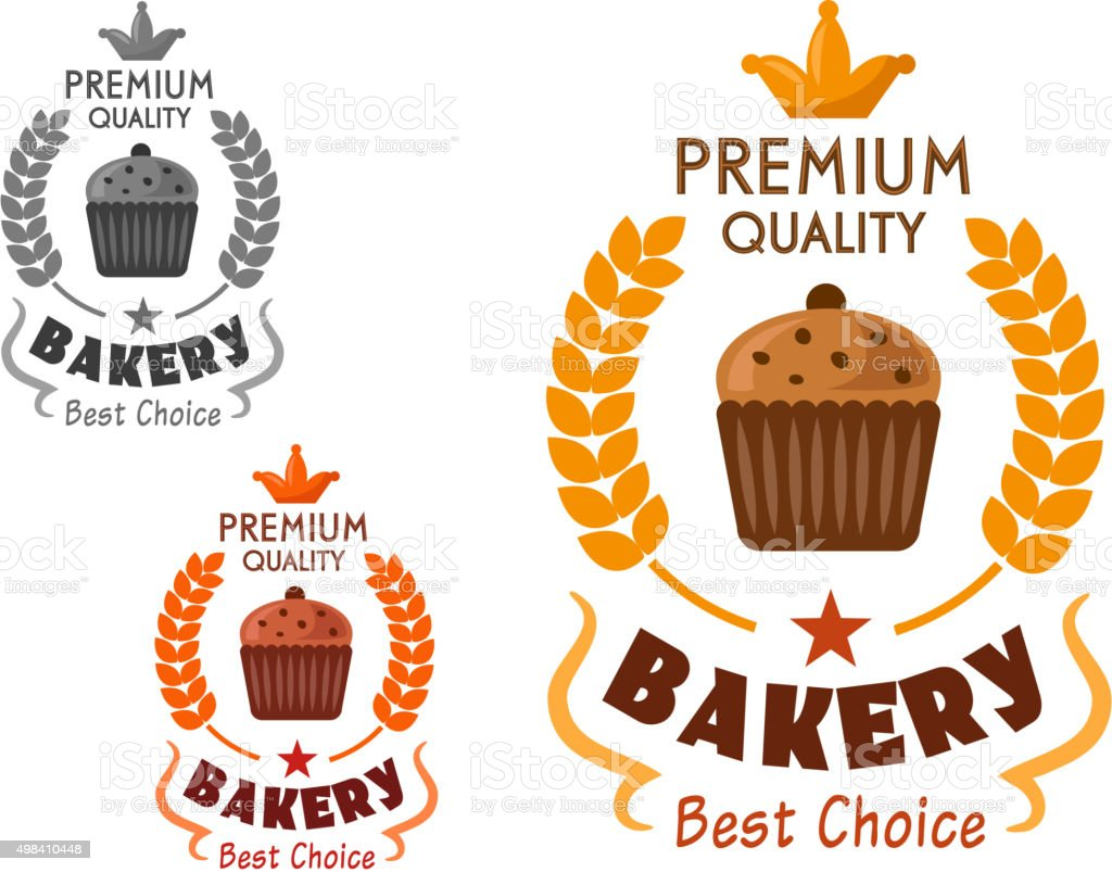 Bakery emblem with cupcake and wheat vector art illustration