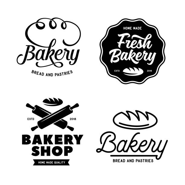 Bakery emblems set. Vector vintage illustration. Bakery emblems set. Cooking related lettering inscriptions. Modern typography logotype templates. Vector vintage illustration. rolling pin stock illustrations