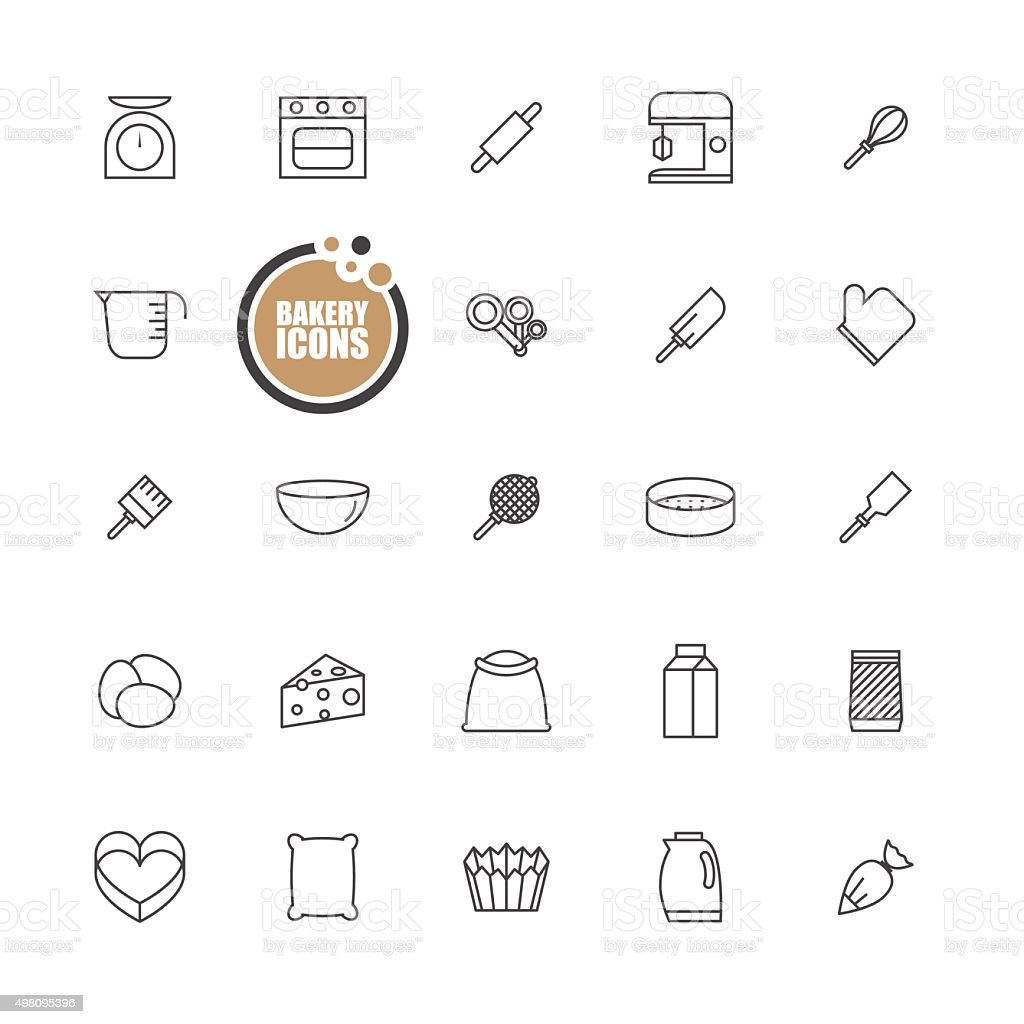 Bakery equipment icons line set vector art illustration