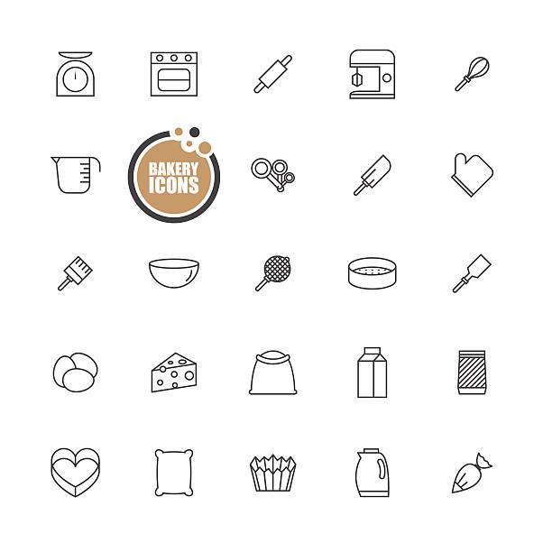 bäckerei geräten-icons-set - tassenkuchen stock-grafiken, -clipart, -cartoons und -symbole
