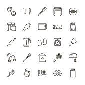 istock Bakery equipment icons - line 639443484