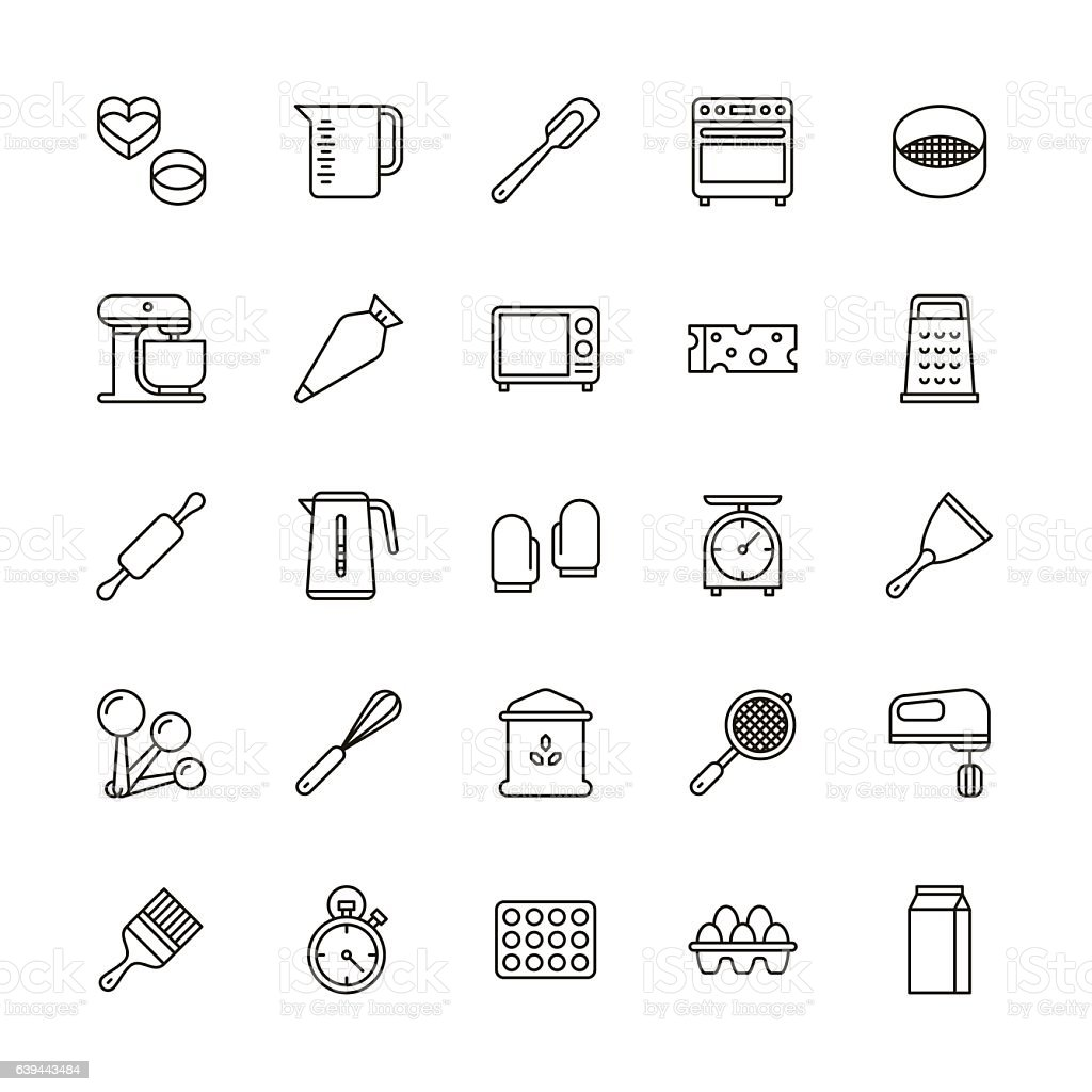 Bakery equipment icons - line vector art illustration
