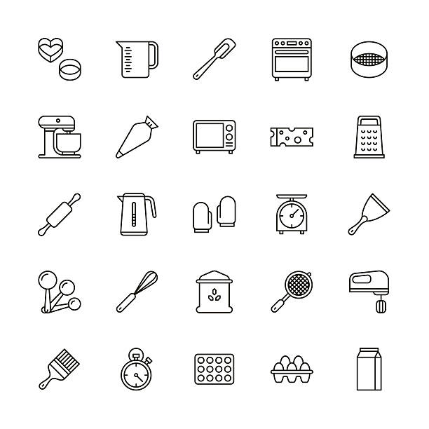 bakery equipment icons - line - baking stock illustrations