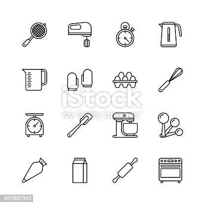 istock Bakery equipment icons - line 642687342