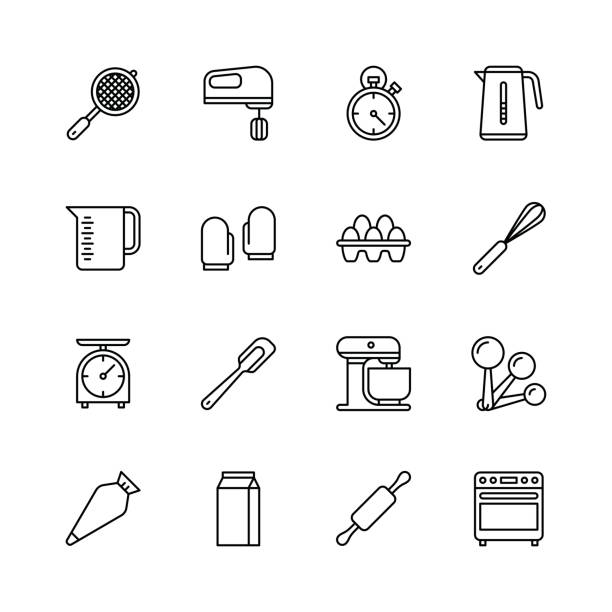 Bakery equipment icons - line Bakery equipment icons - line Vector EPS File. muffin tin stock illustrations