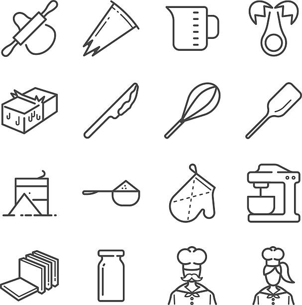 Bakery equipment icons Bakery equipment icons measuring cup stock illustrations