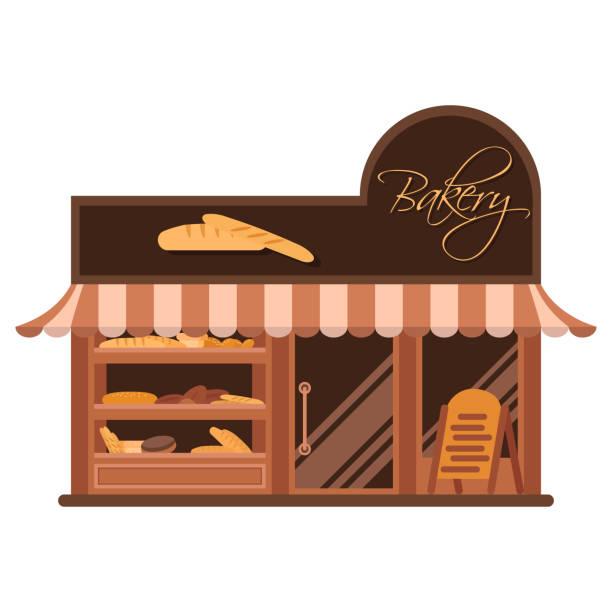 Bäckerei-Fassade. Vitrine mit Süßigkeiten. Kuchen und Brot. Flache Vektor – Vektorgrafik