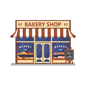 Bakery facade. Showcase with sweets. Cakes and bread. Flat vector.