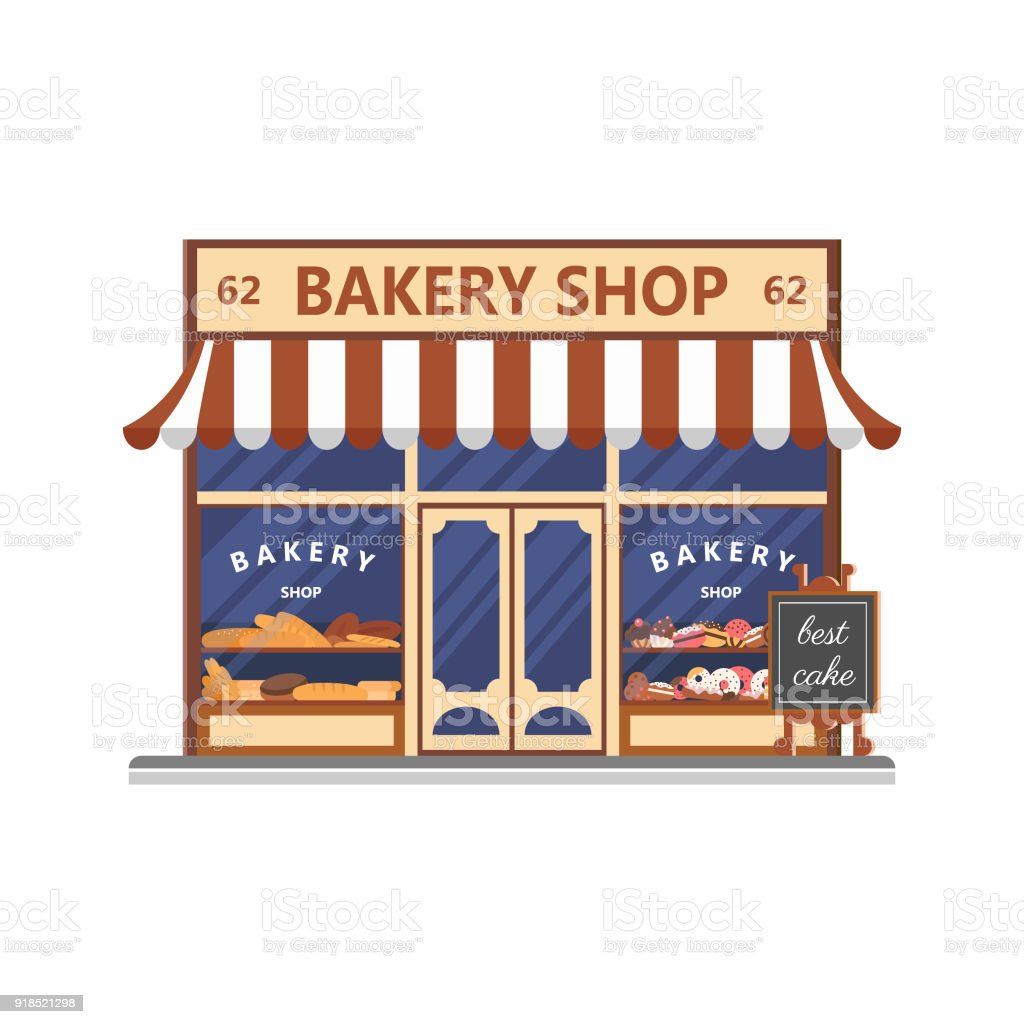 Bakery facade. Showcase with sweets. Cakes and bread. Flat vector vector art illustration