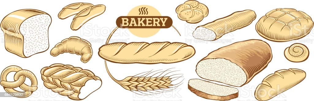 Bakery food item bread, baguette, buns bakery food item bread baguette buns - immagini vettoriali stock e altre immagini di baguette royalty-free