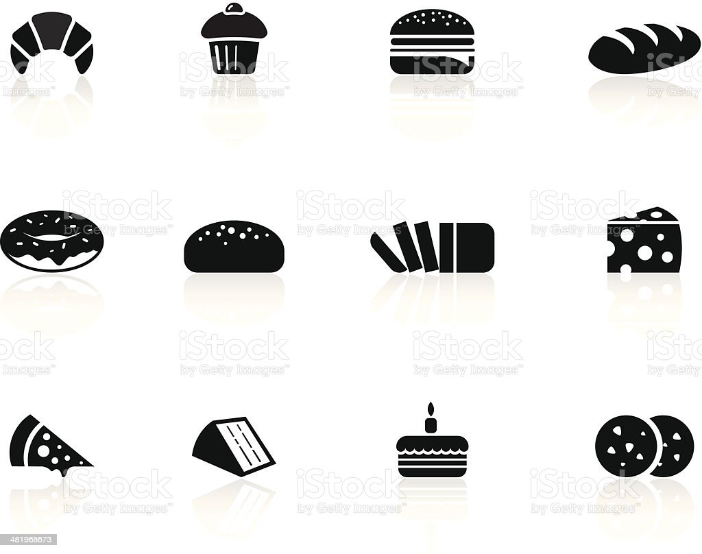 Bakery foods icons向量藝術插圖
