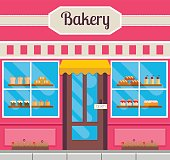 Bakery front or facade in flat style. Vector illustration of small business bake shop.