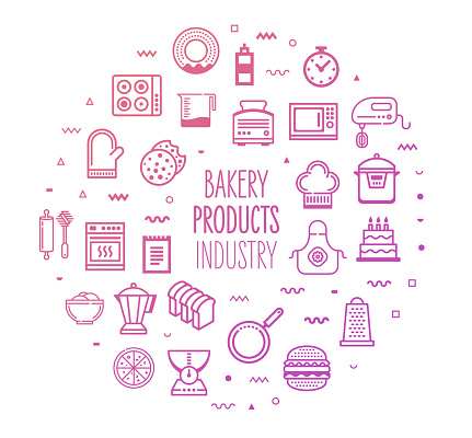 Bakery & Frozen Food Industry Outline Style Infographic Design