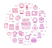 Bakery and frozen food industry outline style symbols with modern gradient colors. Line vector icons for infographics, mobile and web designs.