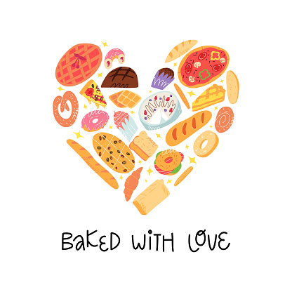 Bakery funny banner. Various traditional American, Spanish, German etc cuisine pastry and baked desserts in heart shape. Bake with love lettering. A cute cartoon vector isolated illustration.