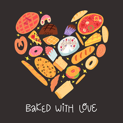 Bakery funny banner. Various traditional American, Spanish, German etc cuisine pastry and baked desserts in heart shape. Bake with love lettering. A cute cartoon vector illustration on dark background