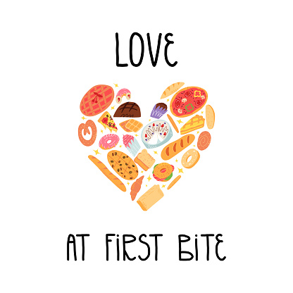 Bakery funny banner. Various traditional American, Spanish, German etc cuisine pastry and baked desserts in heart shape. Love at first bite lettering. A cute cartoon vector isolated illustration.
