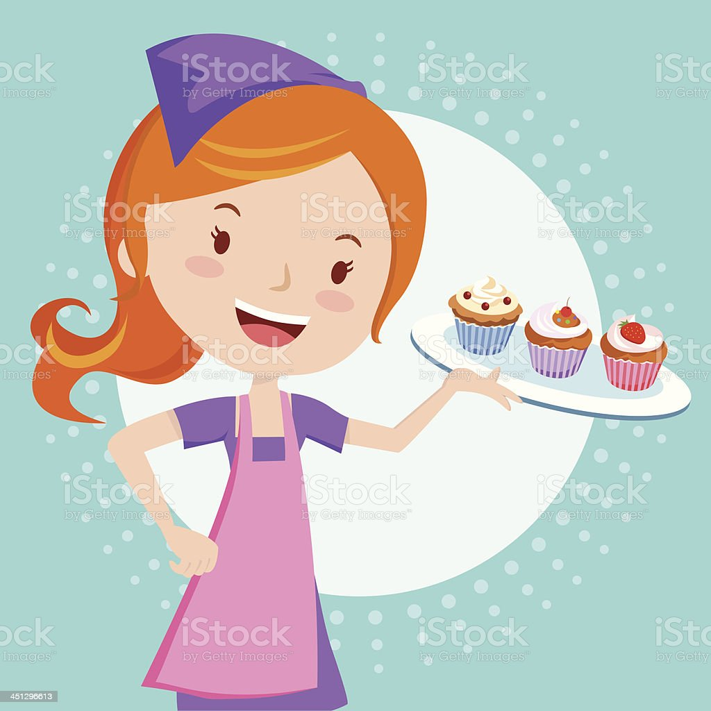 Bakery girl holding cupcakes vector art illustration