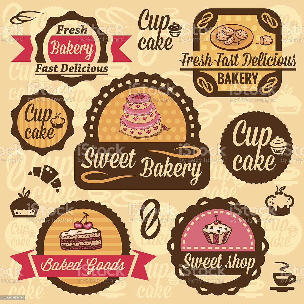 bakery goods labels royalty-free stock vector art