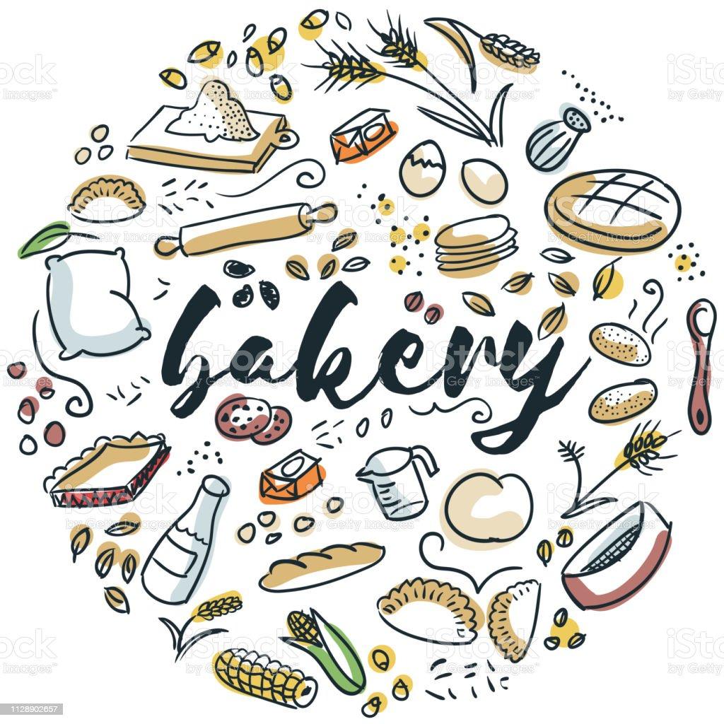 Bäckerei hand gezeichnete design – Vektorgrafik