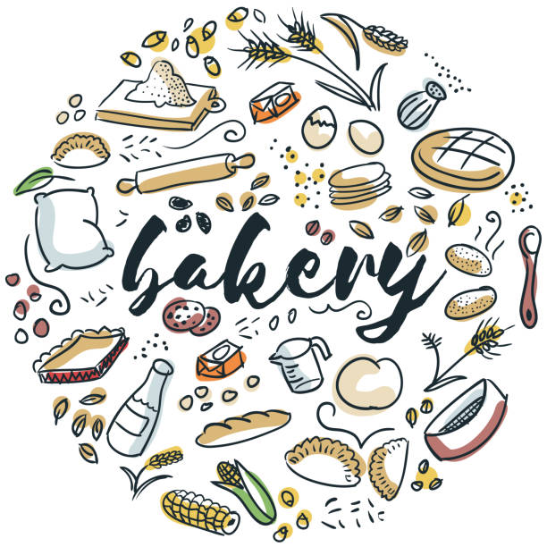 Bakery hand drawn design Circular design of bakery foods bread designs stock illustrations
