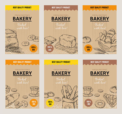 Bakery hand drawn posters. Vintage bread menu design template, sweet cookies and pies doodle sketch. Vector wheat flour bakery