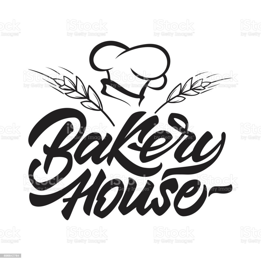Icône de boulangerie maison en lettrage de style avec le chapeau du chef et des céréales. Illustration vectorielle. - Illustration vectorielle
