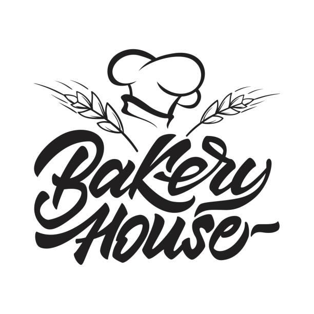 illustrations, cliparts, dessins animés et icônes de icône de boulangerie maison en lettrage de style avec le chapeau du chef et des céréales. illustration vectorielle. - logos restauration