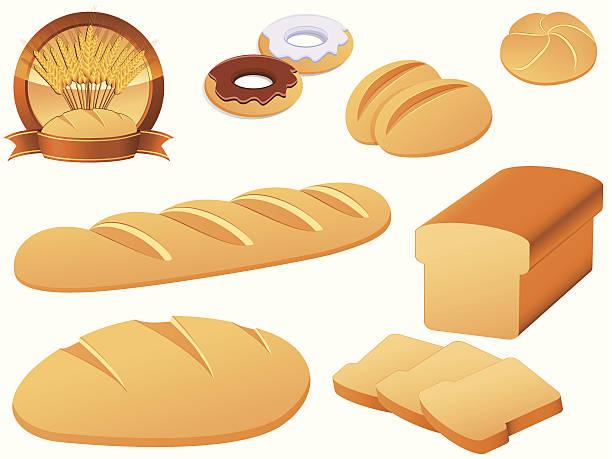 ベーカリーのアイコンセット - 食パン点のイラスト素材/クリップアート素材/マンガ素材/アイコン素材