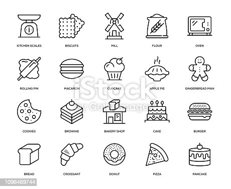 Bakery Icon Set - Thin Line Series