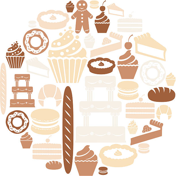 Bakery Icon Set A set of cakes and baked goods. Click below for more food images. bread silhouettes stock illustrations