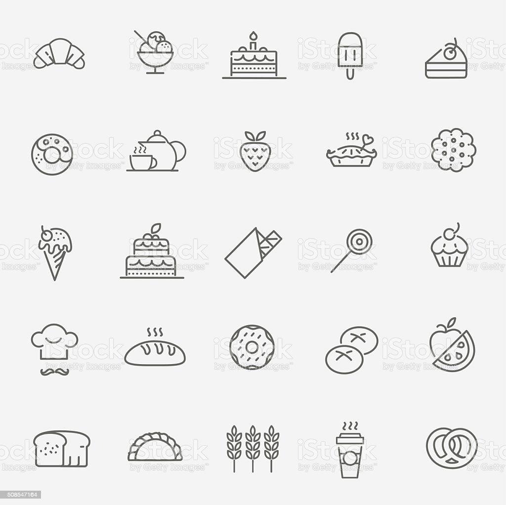 Icono conjunto de panadería - ilustración de arte vectorial