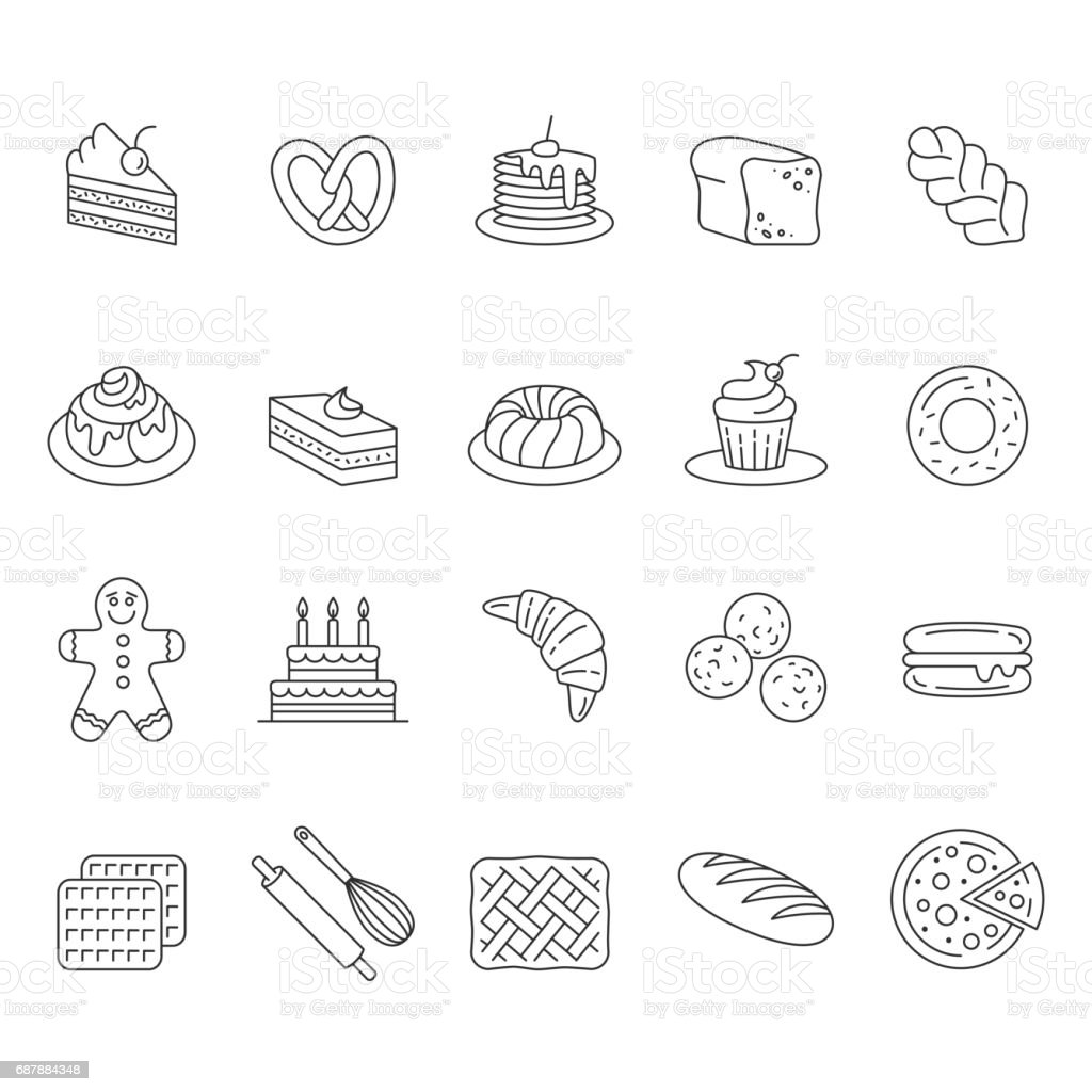 Bakery icon set. vector art illustration