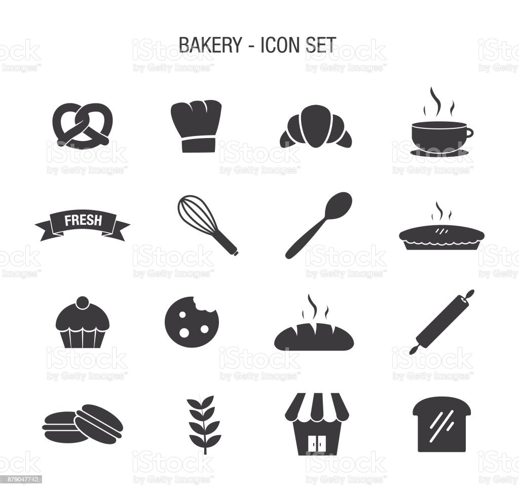 Bakery Icon Set vector art illustration
