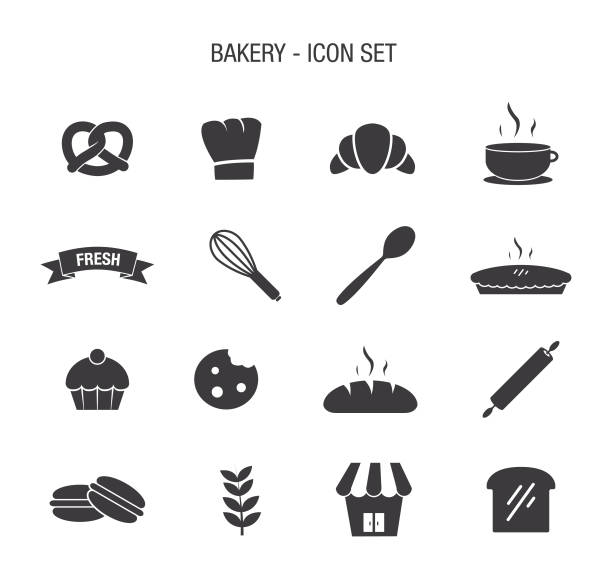Bakery Icon Set Vector of Bakery Icon Set bread clipart stock illustrations