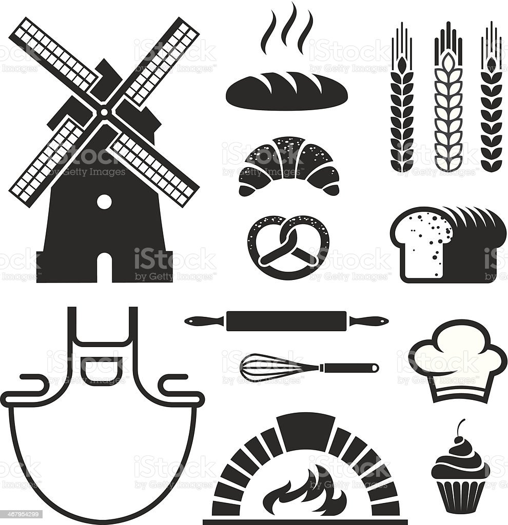 Bakery icons and symbols vector art illustration