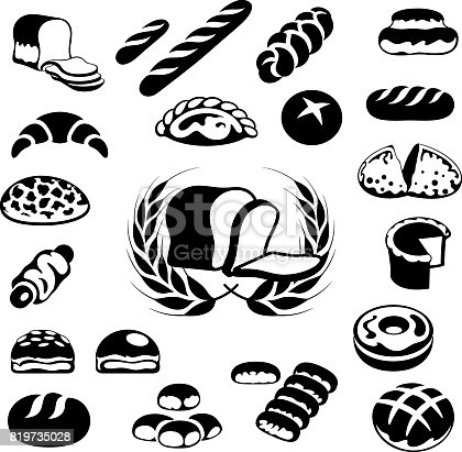 Single colour black icons of various bread loafs and pastries