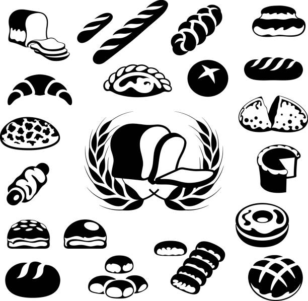 Bakery Icons, Bread and Pastries Single colour black icons of various bread loafs and pastries bread icons stock illustrations