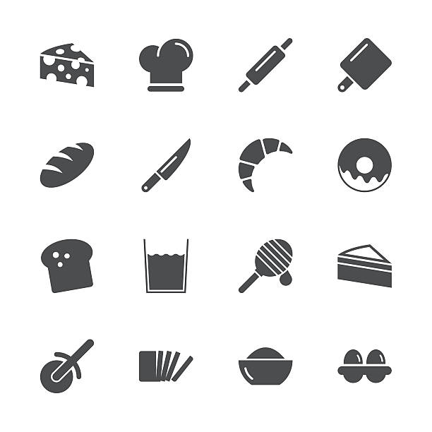 Bakery Icons - Gray Series Bakery Icons Gray Series Vector EPS File. bread clipart stock illustrations