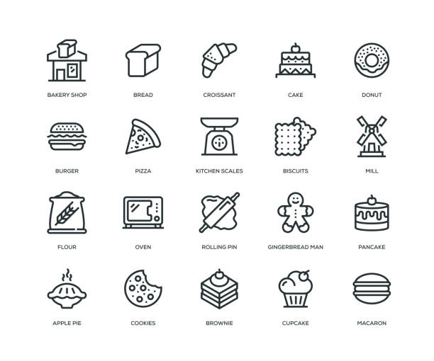 illustrations, cliparts, dessins animés et icônes de boulangerie icons - série en ligne - boulanger